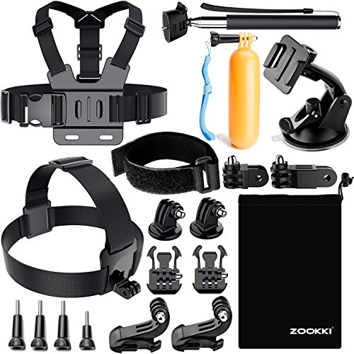 Zookki Accessories Kit for GoPro 6 Hero 5 Session 4 Silver 3 Black SJ4000 SJ5000 SJ6 LEGEND SJ7 Action Camera Accessories for Xiaomi Yi 4K WiMiUS Lightdow DBPOWER