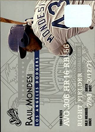 Amazon.com: 1995 Donruss Studio Baseball Card #19 Raul Mondesi Mint: Collectibles & Fine Art