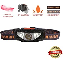 Mini LED Headlamp Flashlight,Waterproof Sport Headlight,Bright Running Head Lamp,Best for Night Jogging,Hiking,Biking,Camping,Reading,Dog Walking,Reading and Kids,Only 1.6oz/48g(NO AA Battery)