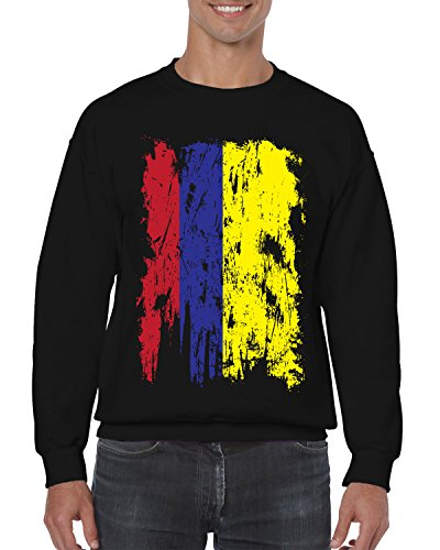 SpiritForged Apparel Distressed Colombia Flag Crewneck Sweater, Black - Cartagena The Is This Shop
