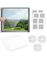 Self-Adhesive Window Screen, 3 Pack Adjustable DIY Insect Screen with Self-Adhesive Tapes & Repair Patches, Mosquito Net for Windows Fly Screen Window (51.2x59.1inch/1.3x1.5m)