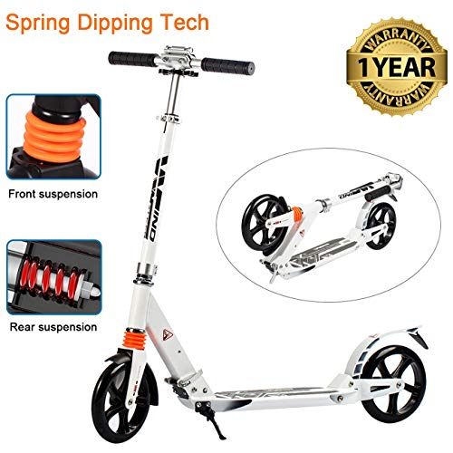 WINDWALKER Kick Scooter for Adults Teens 【Dual Suspension】【Adjustable Foldable】【Big Wheels】【Rear Fender Brake】 Aluminium Alloy Commuter Scooter for Kids Age 12+ Smooth Fast 180lb Weight - Suspension Scooter Wheel
