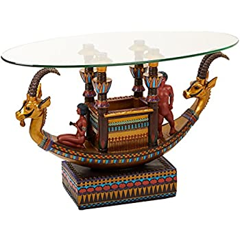 This Item Design Toscano Egyptian Barge To The Beyond Glass Topped Sculptural Table