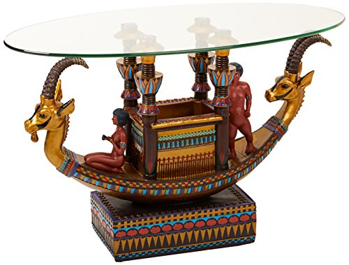 - Design Toscano Egyptian Barge to the Beyond Glass-Topped Sculptural Table