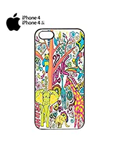 Happy Animals Elephant Giraffe Mobile Cell Phone Case Cover iPhone 4&4s White