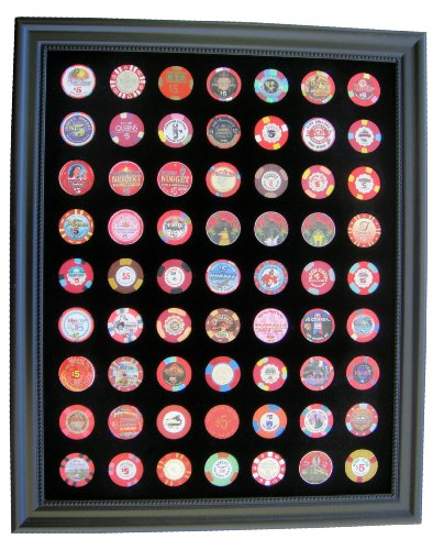 Black Casino Chip Display Frame for 63 Casino Poker Chips (not included) by Tiny Treasures, LLC.