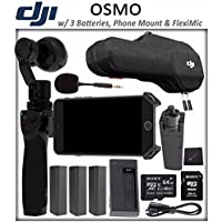 DJI OSMO Starter Bundle: DJI Osmo Handheld 4K Camera and 3-Axis Gimbal + 3 DJI Osmo Intelligent Batteries + DJI Osmo Phone Holder + DJI FlexiMic + SONY 64GB microSD Memory Card