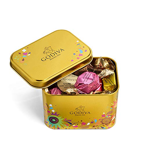 - Godiva Chocolatier Assorted Chocolate Festival Assorted G Cube Tin, Chocolate Truffles, Chocolate Gifts, 15 pc, 4.30 Ounce
