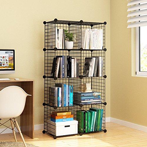 KOUSI Wire Cube Storage Origami Shelves Metal Grid MultiFuncation Shelving Unit Modular Cubbies Organizer Bookcase, 8 Cubes (Shelving Grid Wire)