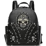 Sugar Skull Punk Art Rivet Studded Biker Purse Women Fashion Backpack Bookbag Python Daypack Shoulder Bag (Black)
