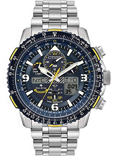 World Drive Mens Timer Eco - Citizen Promaster Skyhawk A-T Blue Dial Stainless Steel Men's Watch JY8078-52L