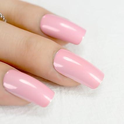 EchiQ - Juego de 24 uñas postizas con cabeza cuadrada y UV, color rosa