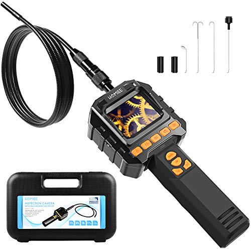 Upgraded Inspection Camera with Lights, HOMIEE Borescope Telescoping Camera with Video Record, 3.2 Ft IP67 Waterproof Semi-Rigid Snake for Drain Pipline Air Vent and Car Detection, Toolbox Included ()