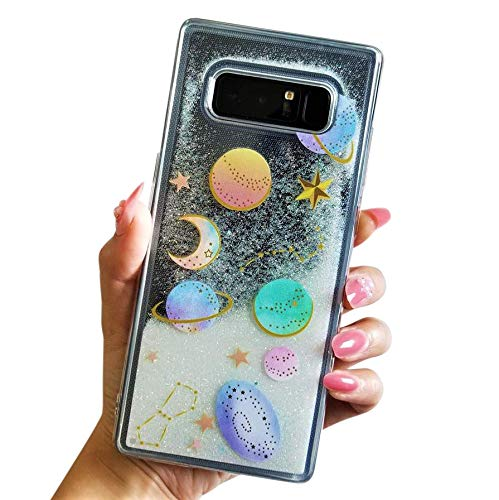 buy popular 514b2 0d01a for Samsung Galaxy Note 8 Cute Clear Transparent Floating Moon Stars Planet  Outer Space Liquid Waterfall Bling Glitter Case (Clear)