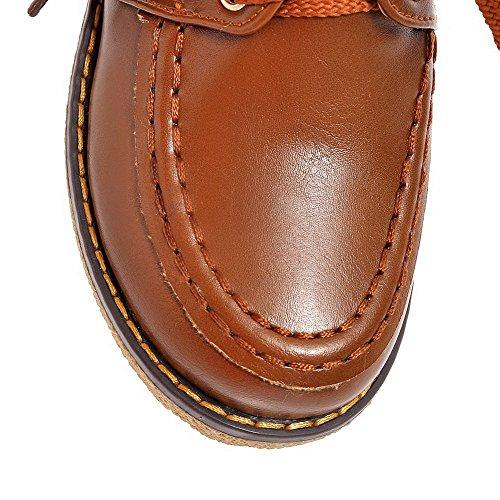 Allhqfashion Donna Morbido Materiale Tacco Chiuso Tacchi Gattino Lace Up Scarpe-scarpe Piene Marrone