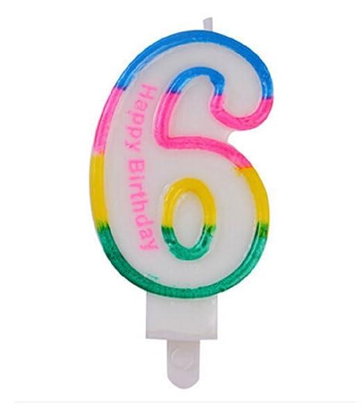 Color rojo y blanco no 6 Números coloridos feliz cumpleaños ...