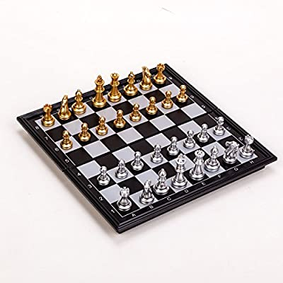 Folding Magnetic Travel Chess Set by ZHEYUfor Kids or Adults Chess Board Game 9.8X9.8X0.8 inch (Gold&Silver Chess Pieces)