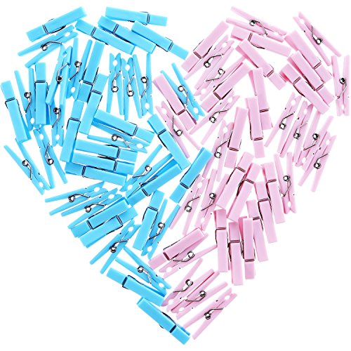 80 Pieces Gender Reveal Clothespins Baby Shower Clothes Pins Plastic Small Clips for Party Favors, Blue and Pink