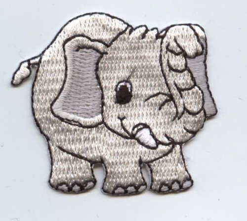 Gray Elephant Iron on Embroidered Applique Patch Iron Elephant