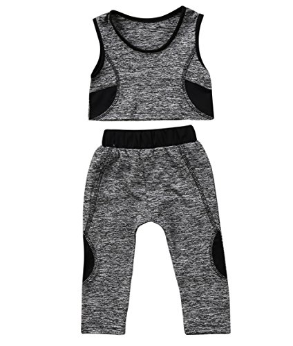 - Toddler Kids Baby Girls Tracksuit Outfits Crop Top Vest + Pants Leggings Sports Clothing Set (Grey, 2-3 T)