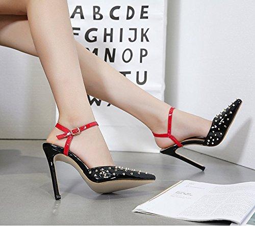 Sharp nine Un KHSKX Unique Buckle 5Cm Chaussures Chaussures Rivet Bien Profond Peu 8 Mot Au Noire Des Thirty Talons Pied L'Été Vogue FnWA1n0r
