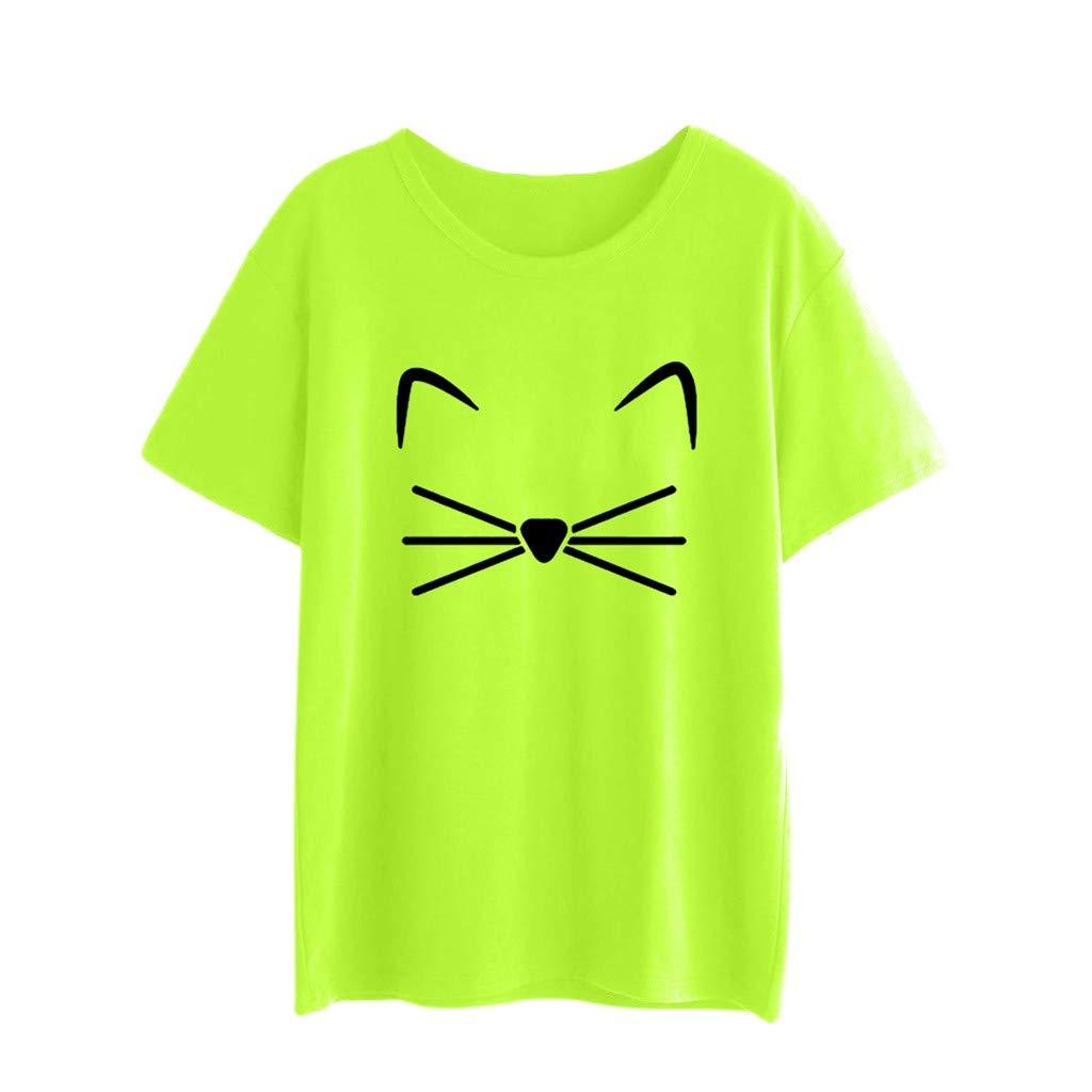 Huazi2 Women's Plus Size Round Neck Cat T-shirt Top Tees