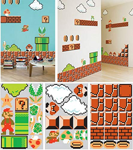 Molywell XXL Super Mario Bros Cartoon Wall Decals Peel and Stick Kids Bedroom Wall Sticker Removable ()