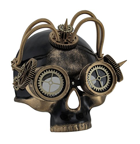 Resin Mens Costume Headwear And Hats 18097 Spiked Steampunk Skull Mask W/Tubes Gears & Goggles 7.25 X 8 X 5 Inches Gold