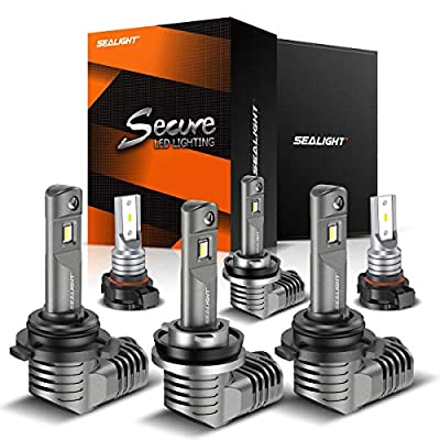 SEALIGHT H11/H9/H8 Low Beam 9005/HB3 High Beam LED Headlight Bulbs 5202/2504 Fog Lights Combo 1 by 1 Mini Design with Fan 6000K Cool White CSP Chips Lighting Replacement: Automotive