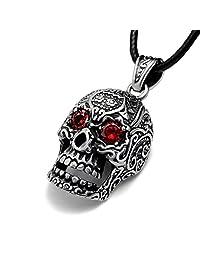 Retro punk men and women titanium Skull Pendant red eyes including chain SP407
