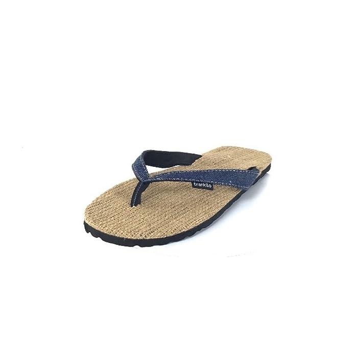 Chanclas Trankilo de Esparto y Tiras de Ante Vaquera Oscura (37): Amazon.es: Zapatos y complementos