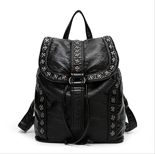 Women Black Backpack Washed Leather Punk Preppy Style - Kathy Van Zeeland Purses Purple