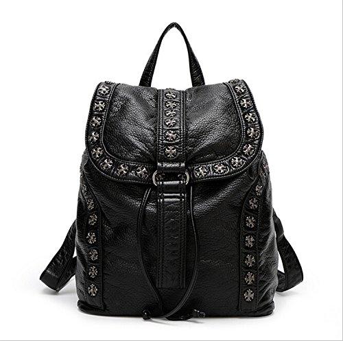 Women Black Backpack Washed Leather Punk Preppy Style Shoulder Bag School Bags Girls Travel Casual Waterproof Rivet Snowflake (Croc Pattern Leather)