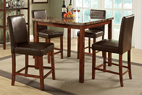 5pcs Casual Dining Set features faux marble table top and seating draped in rich and smooth brown faux leather