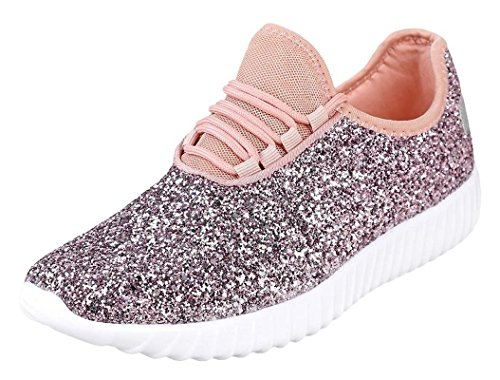 Forever Link Womens Closed Round Toe Sparkling Glitter Lace Up Fitness Trainer Gym Fashion Sneakers 6 Pink