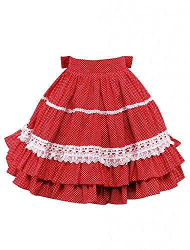 Cemavin Womens Cotton Red Lace Ruffles Bow Lolita Skirt