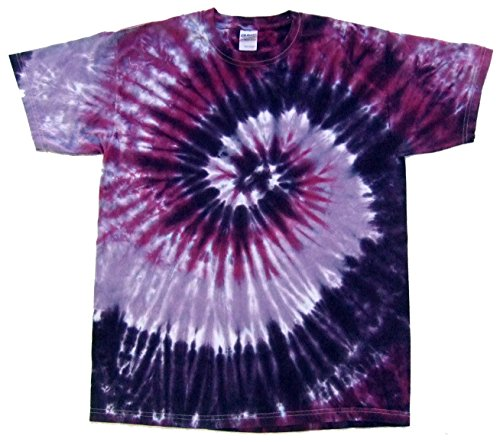 Rockin' Cactus Men's Tie Dye T-Shirt-Purple Spiral-S ()
