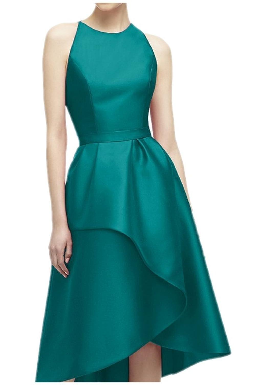 Charm Bridal Satin Formal Women Homecoming Evening Party Dress Hi-Lo Sleeveless