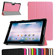 """Acer Iconia One 10 B3-A30 Slim Shell Case,Mama Mouth Ultra Lightweight PU Leather Standing Cover For 10.1"""" Acer Iconia One 10 B3-A30 Android Tablet, Pink"""