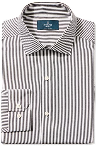 Dress Shirt Stripe (BUTTONED DOWN Men's Fitted Spread-Collar Non-Iron Dress Shirt, black Bengal Stripe, 15.5
