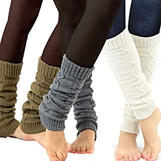 TeeHee Gift Women's Fashion Leg Warmers 3-Pack Assorted Colors (Cable Chain)