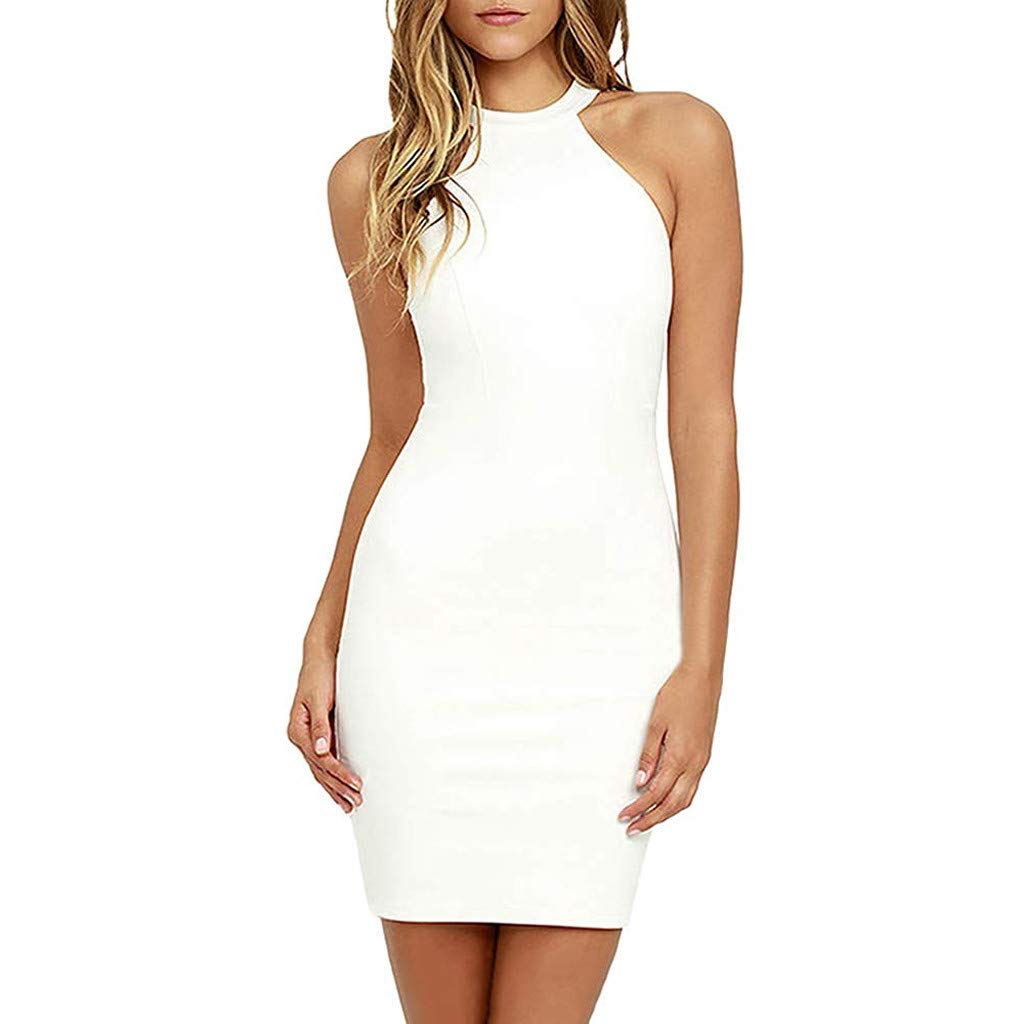 Women Solid O-Neck Sleeveless Backless Lace Party Dress Sexy Cocktail Midi Dresses (White, XL)