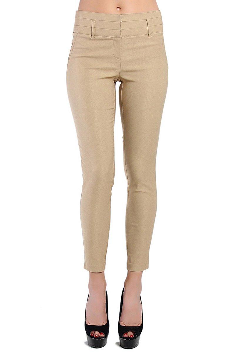 Themogan Women'S Wide Waist Slant Pocket Stretch Trousers-Khaki L