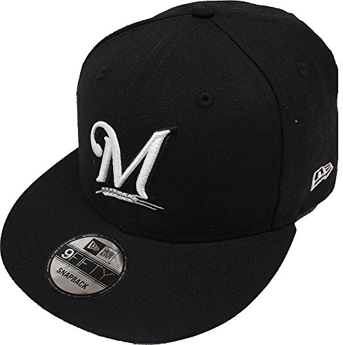 New Era Milwaukee Brewers Black White Logo Snapback Cap 9fifty Limited Edition (Brewers Baseball Milwaukee White)