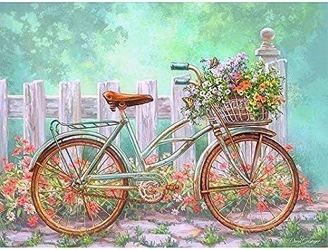Kit de bordado de punto de cruz 5D con diamantes de imitación, hecho a mano, diseño de bicicleta vieja en el mercado de flores, 30,5 x 40,6 cm: Amazon.es: Hogar