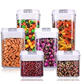 #6: Airtight Food Storage Container Set - Durable Plastic - BPA Free - Clear Plastic with White Lids