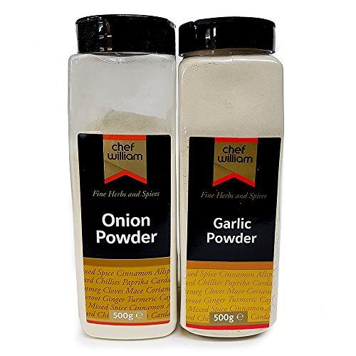 Onion Powder & Garlic Powder 500g Each - Chef William - Large Shaker Jar