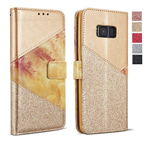 ZCDAYE Wallet Case for Samsung Galaxy S10e,Premium Bling Glitter [Magnetic Closure] PU Leather [Ceramic Pattern] Stand Soft TPU with [Card Slots] Flip Cover for Samsung Galaxy S10e - - Premium Telephone Special Handset