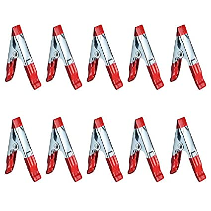 10pcs Metal Spring Clips Clamps wholesale Bulk- PVC Dipped for Home Rebecca online 6inch, Red Work House and Office School Studio