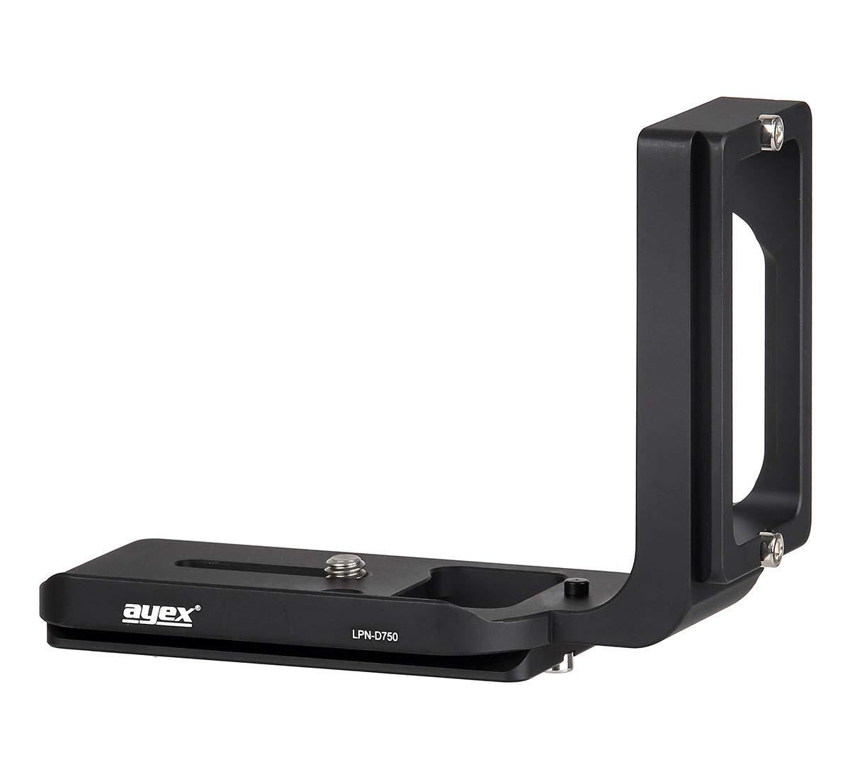 Soporte Estable de Aluminio anodizado, para Cambiar Entre Formato Horizontal y Vertical Ayex LPN-D750 Zapata r/ápida Vertical en Forma de L para Nikon D750 y Arca-Swiss Standard